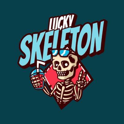 Streetwear Logo Maker Featuring a Funny Skeleton Clipart 3492k