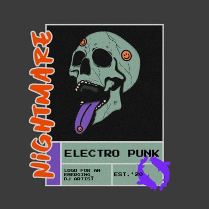 Logo Template for an Electro Punk Channel with a Skull Graphic 3484f