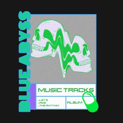 Music-Themed Logo Creator Featuring Distorted Skeletons 3484i