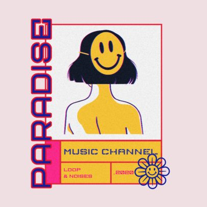 Logo Maker for a Music Channel Featuring a Woman with an Emoticon Face 3484m