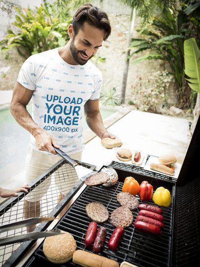 Sublimated T-Shirt Mockup of a Bearded Man Preparing a Burger 38687-r-el2