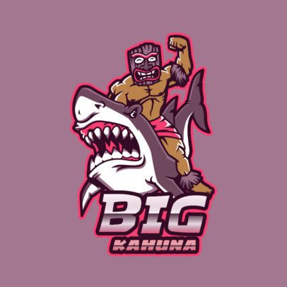 Gaming Logo Template Featuring a Masked Character Riding a White Shark 3498i