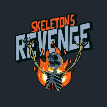 Logo Maker for an Apparel Line Featuring a Skeleton on Fire 3492m