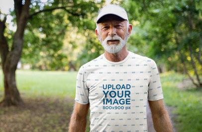 Mockup of a Senior Man Wearing an Activewear Sublimated T-Shirt 39792-r-el2