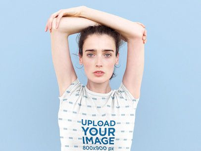 Sublimated T-Shirt Mockup of a Woman Posing With Her Arms Over Her Head 38792-r-el2