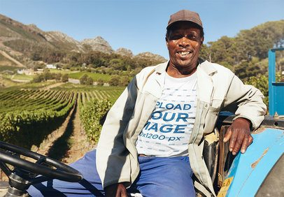 T-Shirt Mockup of a Farmer Sitting on His Tractor 37453-r-el2