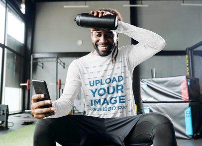 Long Sleeve Tee Mockup of a Man Checking His Phone at the Gym 35810-r-el2
