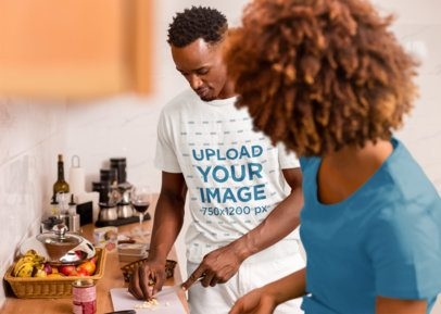 T-Shirt Mockup of a Man Cooking with His Wife 36395-r-el2