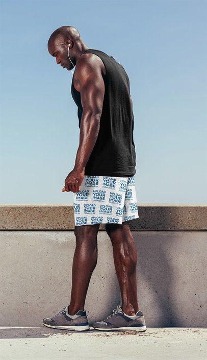 Mockup of a Muscular Bald Man Wearing Workout Shorts 38982-r-el2