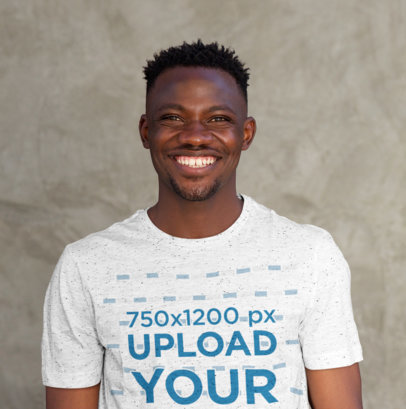 Mockup Featuring a Happy Man Wearing a Heathered Tee 38848-r-el2
