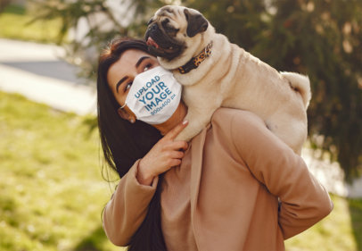 Face Mask Mockup Featuring a Woman With a Pug 39896-r-el2