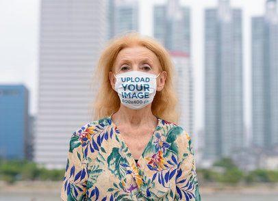 Face Mask Mockup Featuring a Senior Woman 39967-r-el2