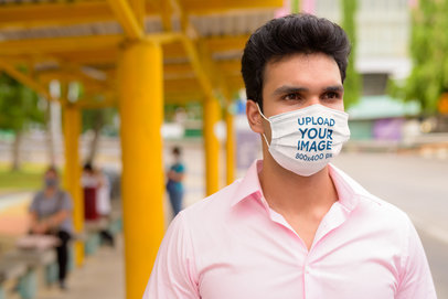 Mockup of a Man Wearing a Face Mask in the City 39964-r-el2