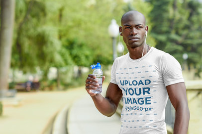 T-Shirt Mockup Featuring a Male Athlete Drinking Water 37659-r-el2