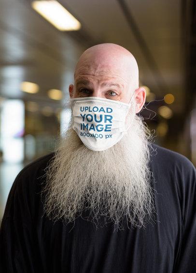 Mockup of a Bearded Man Wearing a Face Mask 39946-r-el2