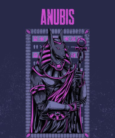 T-Shirt Design Featuring an Illustration of Anubis 2451c-el1
