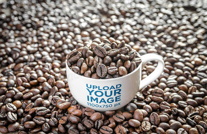 Mockup of a 24 oz Mug Filled With Coffee Beans 35172-r-el2