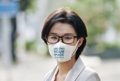 Face Mask Mockup Featuring a Woman with Glasses 39326-r-el2