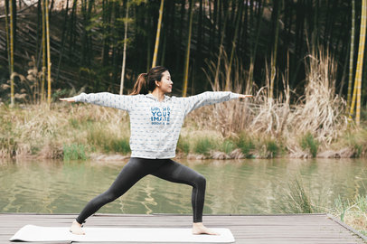 Sublimated Hoodie Mockup of a Woman Doing Yoga by a Pond 40098-r-el2