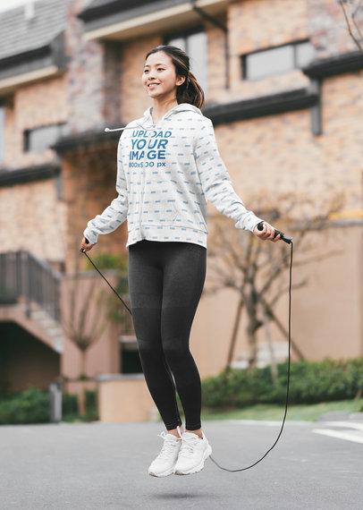 Sublimated Full-Zip Hoodie Mockup of a Woman Jumping Rope 40099-r-el2