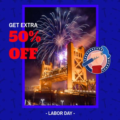 Instagram Post Maker with a Promo Announcement for Labor Day 2777j