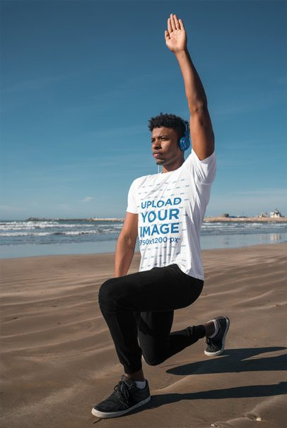 Mockup of a Man Exercising with an Activewear T-Shirt 38640-r-el2