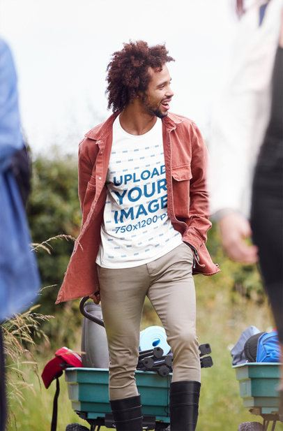 T-Shirt Mockup of a Curly-Haired Man in the Outdoors 38944-r-el2