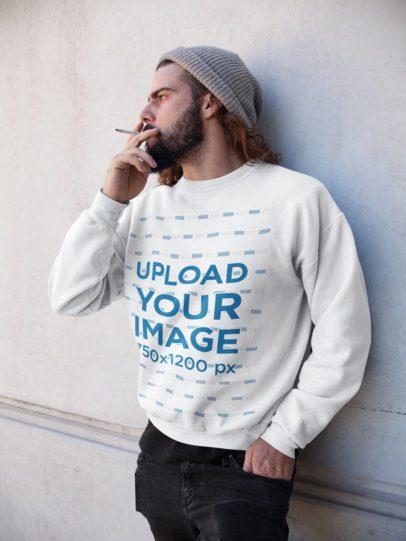 Sweatshirt Mockup of a Bearded Man Smoking 17766