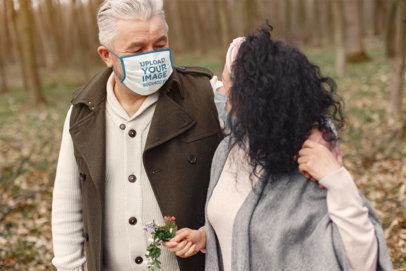 Face Mask Mockup of a Senior Man with His Wife 39910-r-el2
