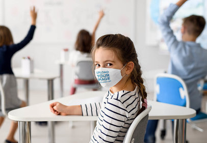 Face Mask Mockup Featuring a Girl in a Classroom 39009-r-el2