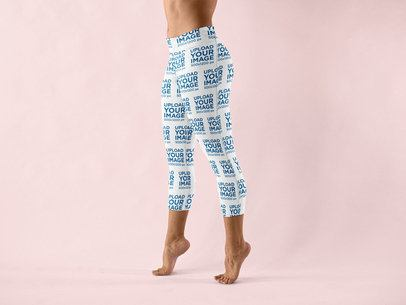 Leggings Mockup Featuring a Woman Tip Toe Walking at a Studio 15397