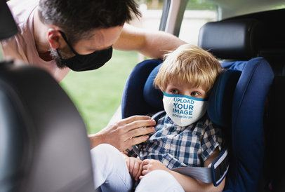 Face Mask Mockup of a Little Kid on a Car's Infant Seat 38985-r-el2