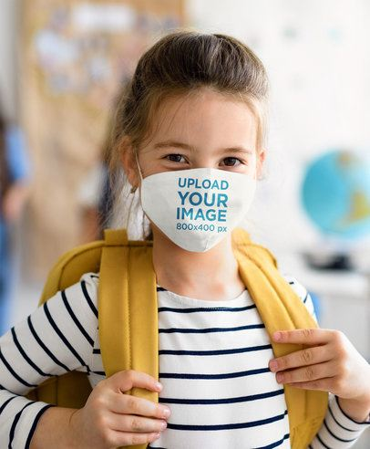 Face Mask Mockup of a Little Girl Ready for School 39291-r-el2