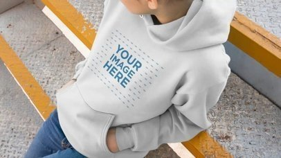 Video Mockup Of A Girl Sitting On Industrial Stairs Wearing A Pullover Hoodie a13192