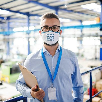Face Mask Mockup of a Man Working at a Factory 39915-r-el2