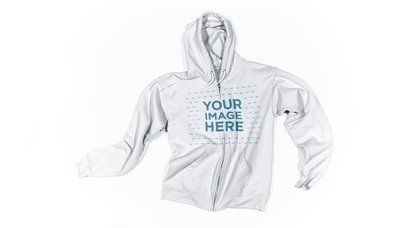 FullZip Hoodie On White Surface With Moving Laces Stop Motion Mockup a13268