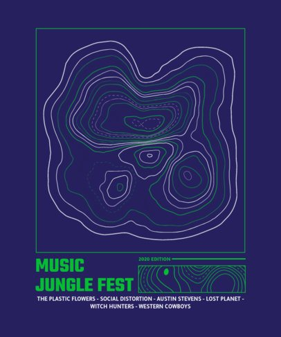 T-Shirt Design Template for a Music Fest Featuring Topographic Curves 2313d-el1