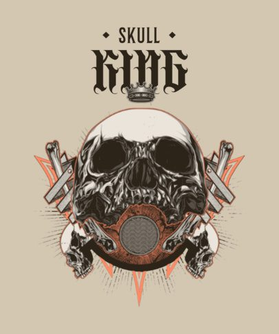 Illustrated T-Shirt Design Maker Featuring an Imposing Skull Graphic 2400b-el1