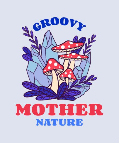 Illustrated T-Shirt Design Maker Featuring Groovy Mushrooms Clipart 2781d