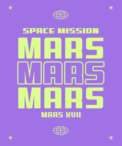 Quote T-Shirt Design Template with a Space-Travel Theme 2769c
