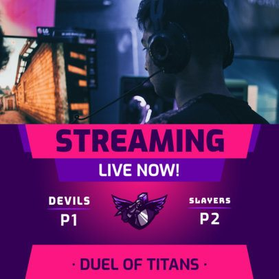 Instagram Post Maker Announcing the Streaming of a Live Gaming Match 2453e-el1