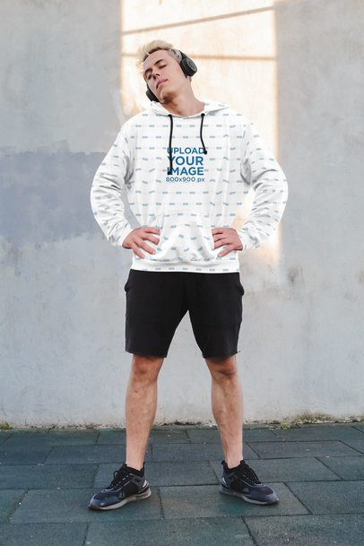 Sublimated Hoodie Mockup of a Man Getting Ready to Go for a Run 39670r-el2