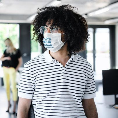 Face Mask Mockup Featuring a Man With Curly Hair 39865-r-el2