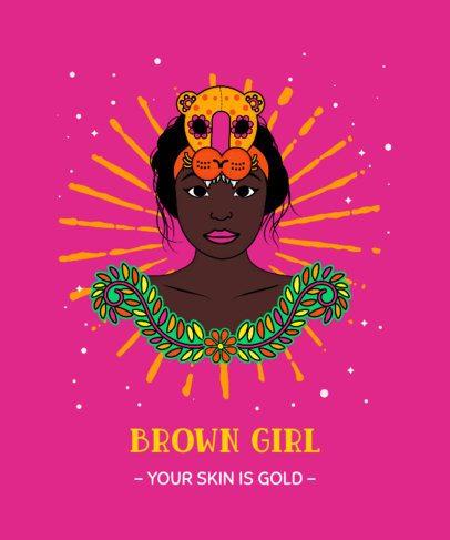 T-Shirt Design Creator Featuring a Proud Brown Skin Girl Illustration 2779e