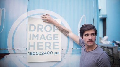 Stop Motion Hipster Young Man Holding A Poster On Foodtruck Mockup a13656