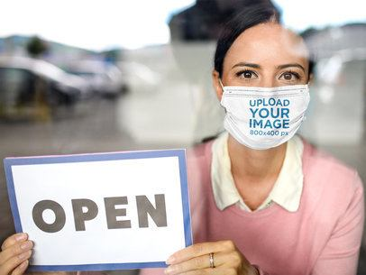 Face Mask Mockup of a Woman Holding an Open Sign 39913-r-el2