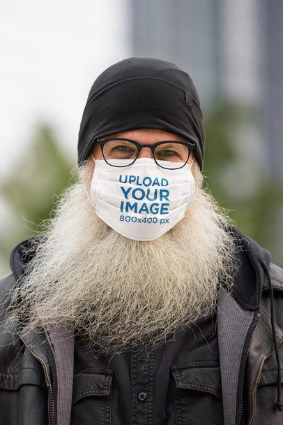 Face Mask Mockup Featuring a Man with a Long Beard 39941-r-el2