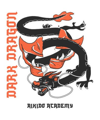 Illustrated T-Shirt Design Template Featuring a Japanese Dragon 2780c