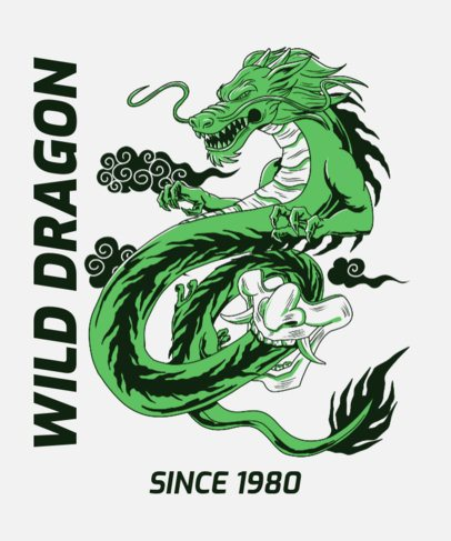 Retro T-Shirt Design Maker with a Japanese Dragon Graphic 2780f