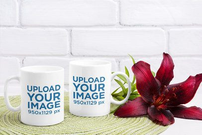 Mockup Featuring Two 11 oz Coffee Mugs Placed Next to a Big Flower 37128-r-el2